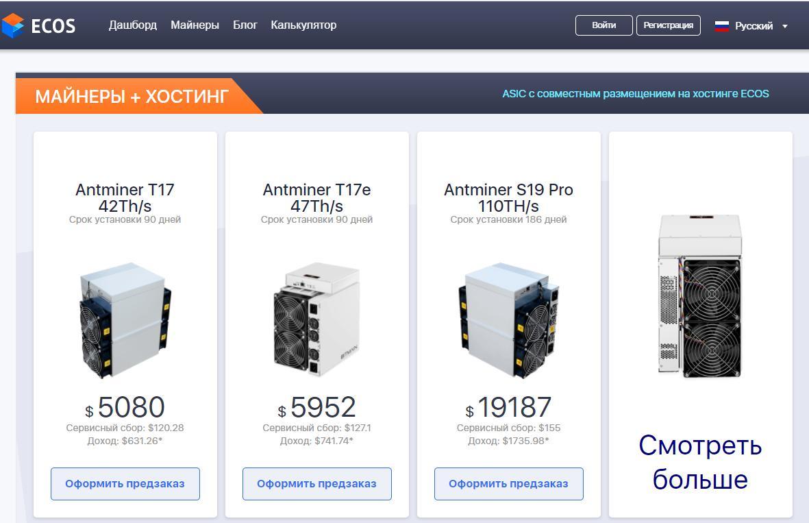 Цены на майнеры в ECOS Cloud Mining